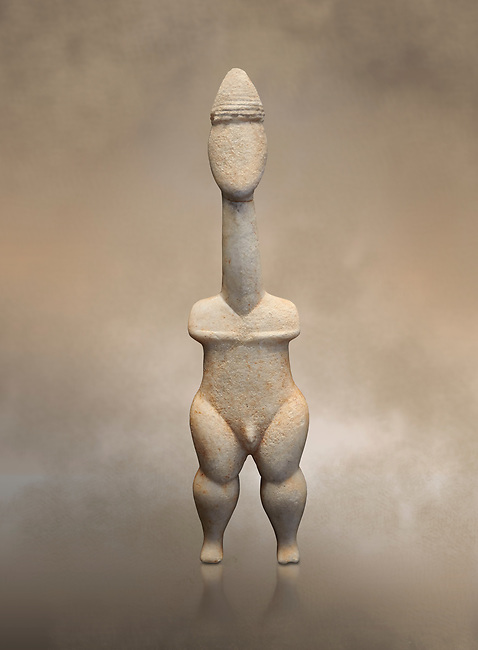 Cycladic statue figurine of the naturalistic 'Plastira' type of Paros. Early Cycladic Period I (Grotta-Pelos Phase 3200-2800 BC). National Archaeological Museum, Athens. <br /> <br /> This type of Cycladic figurine stand with feet lat to the ground with detailed facial features and ears to make a more realistic statue. This statue is of a hunter or warrior as it bears an incised weapon strap across its chest and holds a knife.