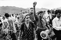 India, Narmada River, Narmada dams and protest movement of NBA Narmada Bachao Andolan, movement to save the Narmada river, and affected Adivasi in their villages, tribal village Domkhedi, rally in September 2000, arrival of Medha Patkar and Arundhati Roy