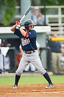 Pat Kelly (8) of the Elizabethton Twins at bat against the Burlington Royals at Burlington Athletic Park on June 25, 2014 in Burlington, North Carolina.  The Twins defeated the Royals 8-0. (Brian Westerholt/Four Seam Images)