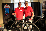Vidmantas and Gintaras Zukauskas on the Wittson Cycles stand at Bespoked 2018 UK handmade bicycle show held at Brunel's Old Station & Engine Shed, Bristol, England. 21st April 2018.<br /> Picture: Eoin Clarke | Cyclefile<br /> <br /> <br /> All photos usage must carry mandatory copyright credit (© Cyclefile | Eoin Clarke)