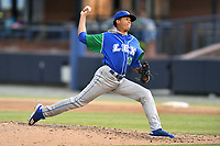 Lexington Legends starting pitcher Janser Lara (13) delivers a pitch during a game against the Asheville Tourists at McCormick Field on May 25, 2018 in Asheville, North Carolina. The Tourists defeated the Legends 6-4. (Tony Farlow/Four Seam Images)