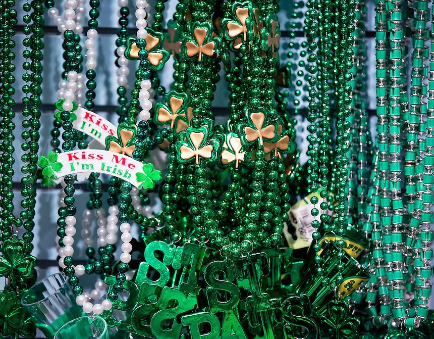 St Patrick's Day trinkets.