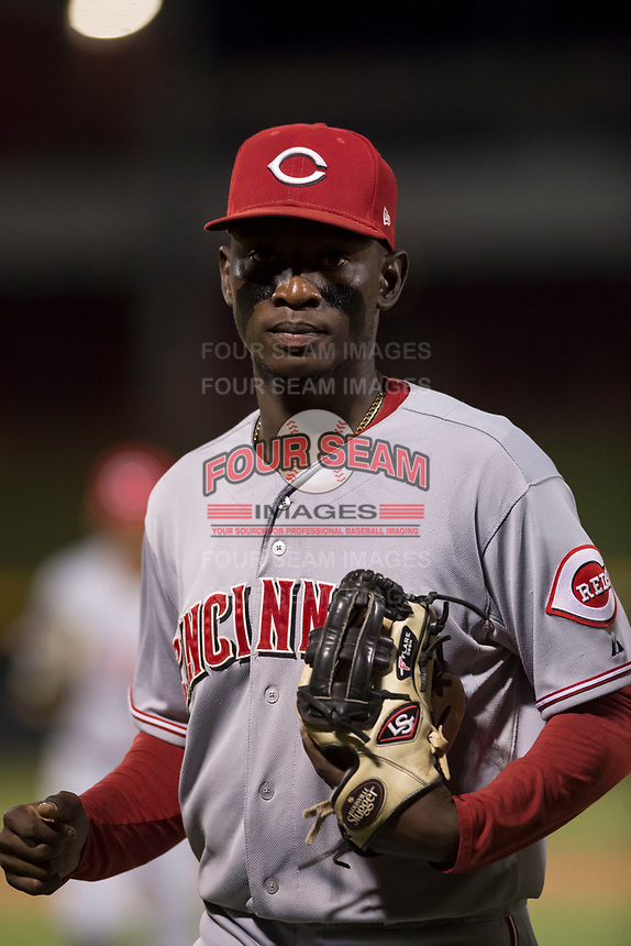 AZL Reds second baseman Danielito Remy (6) jogs off the field between innings of an Arizona League game against the AZL Cubs 1 at Sloan Park on July 13, 2018 in Mesa, Arizona. The AZL Cubs 1 defeated the AZL Reds 4-1. (Zachary Lucy/Four Seam Images)