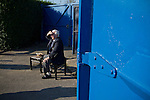 Lancaster City 0 FC Halifax Town 3, 15/10/2011, Giant Axe, FA Cup Third Qualifying Round. A member of the organising committee waiting for spectators to arrive at Lancaster City's Giant Axe ground prior to the club's FA Cup third qualifying round match against FC Halifax Town. The visitors, who play two leagues above their hosts in the English football pyramid, won the ties by three goals to nil, watched by a crowd of 646 spectators. Lancaster City were celebrating their centenary in 2011, although there was a dispute over the exact founding date over the club known as Dolly Blue. Photo by Colin McPherson.