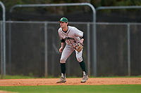 Dartmouth Big Green third baseman Justin Murray (5) during a game against the Indiana State Sycamores on February 21, 2020 at North Charlotte Regional Park in Port Charlotte, Florida.  Indiana State defeated Dartmouth 1-0.  (Mike Janes/Four Seam Images)