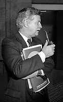 Montreal (Qc) CANADA - June 8 1984-Marcel Leger  smoking pipe at Parti Quebecois 9th convention