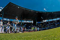 20 June 2021: Vermont Lake Monsters infielder Chris Brown, from Trumbull, CT, takes the field to face the Westfield Starfires at Centennial Field in Burlington, Vermont. The Lake Monsters fell to the Starfires 10-2 at Centennial Field, in Burlington, Vermont. Mandatory Credit: Ed Wolfstein Photo *** RAW (NEF) Image File Available ***