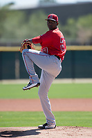 Los Angeles Angels starting pitcher Jose Soriano (37) during a Minor League Spring Training game against the Colorado Rockies at Tempe Diablo Stadium Complex on March 18, 2018 in Tempe, Arizona. (Zachary Lucy/Four Seam Images)