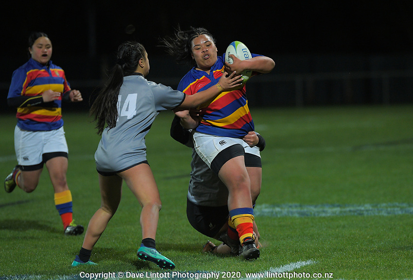 Action from the Wellington 1st XV girls secondary schools premier one rugby final between St Mary's College and Tawa College at Porirua Park in Wellington, New Zealand on Wednesday, 16 September 2020. Photo: Dave Lintott / lintottphoto.co.nz
