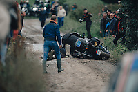 2nd October 2021 Paris–Roubaix.The first ever women's edition of Paris Roubaix. A course motorbike slips and crashes on the cobblestones