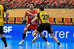 Ludwigshafens Dietrich, Gunnar (Nr.8) gegen Coburgs Sproß, Felix  beim Spiel in der Handball Bundesliga, Die Eulen Ludwigshafen - HSC 2000 Coburg.<br /> <br /> Foto © PIX-Sportfotos *** Foto ist honorarpflichtig! *** Auf Anfrage in hoeherer Qualitaet/Aufloesung. Belegexemplar erbeten. Veroeffentlichung ausschliesslich fuer journalistisch-publizistische Zwecke. For editorial use only.