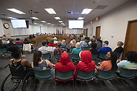 """A full house is on hand Thursday July 15, 2021 for the Washington County Quorum Court meeting. Many people came to speak against a resolution declaring Washington County a """"pro-life"""" county.  Patrick Deakins, justice of the peace for District 5 in northeast Washington County, sponsored the resolution. Under Arkansas law, a resolution adopted by the Quorum Court isn't a law, only a statement of policy, and doesn't have any effect under the law."""