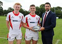Ulster Rugby Schools 2018-2019<br /> <br /> Dalriada players Luke Pollock and James McCormick with Danske Bank representative Ian Russell.<br /> <br /> Photo by John Dickson / DICKSONDIGITAL