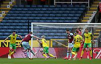 2nd October 2021;  Turf Moor, Burnley, Lancashire, England; Premier League football, Burnley versus Norwich City: Chris Wood of Burnley shoots at goal but see his effort blocked