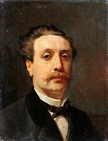 Portrait of Guy de Maupassant by Feyen-Perrin, Francois Nicolas Auguste (1826-1888) / Musee de l'Histoire de France, Chateau de Versailles / 1876 / France / Oil on canvas / Portrait / 32x23,5 / Realism