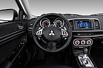Steering wheel view of a 2012 Mitsubishi Lancer Sportback GT