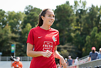 CARY, NC - SEPTEMBER 12: Lindsay Agnew #20 of the NC Courage exits the field after warming up before a game between Portland Thorns FC and North Carolina Courage at WakeMed Soccer Park on September 12, 2021 in Cary, North Carolina.