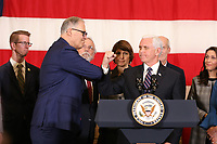 JOINT BASE LEWIS MCCHORD, WA - MARCH 05: Vice President Mike Pence visits Washington on Thursday afternoon to meet with Gov. Jay Inslee on March 5, 2020 in Joint Base Lewis McChord, Washington. They are joined by members of Washington state's congressional delegation, federal, state and local officials.(Photo by Karen Ducey/Getty Images)