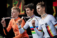 Men Junior Individual Time Trial podium ceremony:<br /> 1/ Antonio Tiberi (ITA)<br /> 2/ Enzo Leijnse (NED)<br /> 3/ Marco Brenner (DEU)<br /> <br /> 2019 Road World Championships Yorkshire (GBR)<br /> <br /> ©kramon