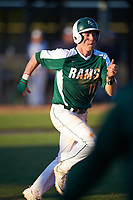 Farmingdale State Rams Nicholas Soriano (11) runs to first base during the second game of a doubleheader against the FDU-Florham Devils on March 15, 2017 at Lake Myrtle Park in Auburndale, Florida.  FDU-Florham defeated Farmingdale 8-4.  (Mike Janes/Four Seam Images)