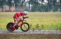 Johan Price-Pejtersen (DEN/Uno-X) on his way to crown himself the newest U23 Mens Time Trial World Champion<br /> <br /> World Championships U23 Men - ITT <br /> Time Trial from Knokke-Heist to Bruges (30.3km)<br /> <br /> UCI Road World Championships - Flanders Belgium 2021<br /> <br /> ©kramon