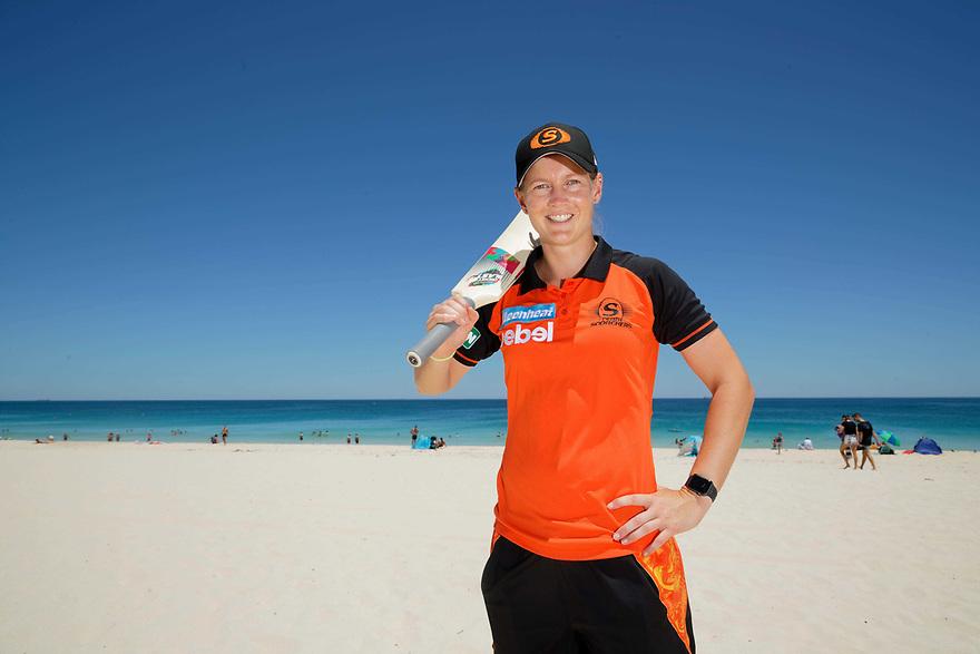 """Perth Scorchers captain Meg Lanning has missed games due to a back injury but is expected to return.against the Melbourne Renegades at the WACA Ground. Saturday's theme is """"Bring the Beach to the WACA"""" and to help promote this Meg played beach cricket with young Scorchers fans. photo by Trevor Collens"""