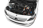 Car Stock 2017 Mercedes Benz B-Class Electric-Drive 5 Door Mini MPV Engine  high angle detail view