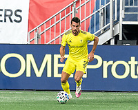 FOXBOROUGH, MA - OCTOBER 3: Daniel Lovitz #2 of Nashville SC brings the ball forward during a game between Nashville SC and New England Revolution at Gillette Stadium on October 3, 2020 in Foxborough, Massachusetts.