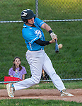 PROSPECT, CT 072231JS26 Torrington's Jimmy Lamanna (17) rips a sacrifice fly to bring in teammate Jake Reynolds during the first round of the Tri-State Baseball Playoffs against Blasius Chevrolet Friday at Hotchkiss Field in Prospect. <br /> Jim Shannon Republican American