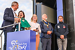 Prize giving party on the podium at the end of Stage 1 of the 2018 Artic Race of Norway, running 184km from Vadso to Kirkenes, Norway. 16th August 2018. <br /> <br /> Picture: ASO/Gautier Demouveaux | Cyclefile<br /> All photos usage must carry mandatory copyright credit (© Cyclefile | ASO/Gautier Demouveaux)