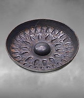 250 - 150 B.C Etruscan phiale or patera, or wine drinking bowl, produced in Calena,   National Archaeological Museum Florence, Italy  , grey art background