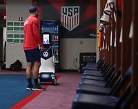 VW robot Champ tours the USMNT locker room in Nashville before the USA v Canada game.