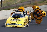 Jul. 20, 2013; Morrison, CO, USA: NHRA funny car driver Jeff Arend during qualifying for the Mile High Nationals at Bandimere Speedway. Mandatory Credit: Mark J. Rebilas-