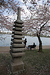 This Japanese Pagoda arrived in Washington as a gift from one man to another. In 1957, Ryozo Hiranuma, the Mayor of Yokohama and a visitor to Washington DC four years prior, gave this pagoda to former District Commissioner Renah Camalier. However, Camalier felt the gift belonged to the people of the District of Columbia and placed it among the Japanese cherry trees, on the tidal pool. A year later, on April 21, 1958, the pagoda was dedicated as a special gift from Japan to the United States.