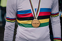 Ben Tulett's (GBR) gold + rainbow<br /> <br /> Junior Men's Race<br /> UCI CX Worlds 2018<br /> Valkenburg - The Netherlands