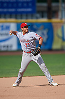 Greeneville Reds third baseman Raul Juarez (39) throws to first base during the second game of a doubleheader against the Princeton Rays on July 25, 2018 at Hunnicutt Field in Princeton, West Virginia.  Greeneville defeated Princeton 8-7.  (Mike Janes/Four Seam Images)