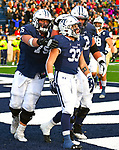 """November 23, 2019:  #33 Dudek and teammates celebrates the winning  """"TD"""" in a stunning comeback that mirrored 1968, the Yale Bulldogs defeat Harvard in double """"OT"""" 50-43.  Yale came from down 17 late in the fourth quarter, including recovering an onside kick with a minute left at the Yale Bowl in New Haven Connecticut.Dan Heary/Eclipse Sportswire/CSM"""