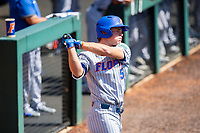 Florida Gators third baseman Colby Halter (5) on deck against the Tennessee Volunteers on Robert M. Lindsay Field at Lindsey Nelson Stadium on April 11, 2021, in Knoxville, Tennessee. (Danny Parker/Four Seam Images)