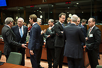(L-R) Johannes Hahn , EU commissioner for Neighbourhood policy and enlargement, Spanish Foreign Minister, Jose Manuel Garcia-Margallo, Austrian Foreign Minister Sebastian Kurz, Foreign Relations Minister of Belgium, Didier Reynders, Slovenian Foreign Minister Karl Erjavec, Hungarian Foreign Minister Peter Szijjarto, Denmark's Foreign Affairs Minister Martin Lidegaard and Romanian Foreign Minister Bogdan Aurescu talk to each other  prior to the European Union Foreign Ministers Council at EU headquarters  in Brussels, Belgium on 29.01.2015 Federica Mogherini , EU High representative for foreign policy called extraordinary meeting on the situation in Ukraine after the attack on Marioupol.  by Wiktor Dabkowski