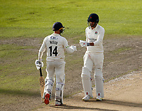 6th July 2021; Emirates Old Trafford, Manchester, Lancashire, England; County Championship Cricket, Lancashire versus Kent, Day 3; After James Anderson hit successive fours in the final over of the day, he and Luke Wood saw Lancashire finish on 259-9, a lead of 185