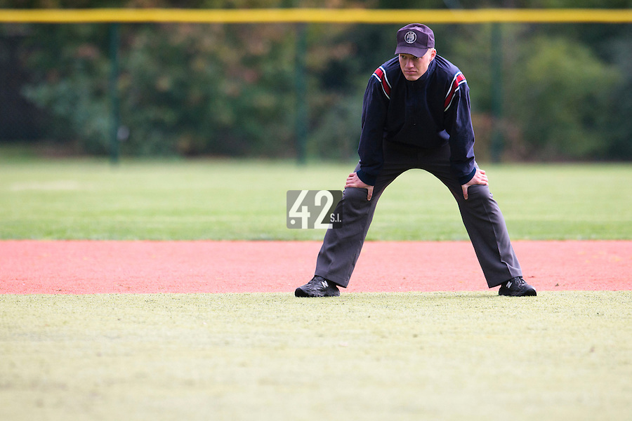 23 October 2010: Second base umpire Serge Makouchetchev is seen during Savigny 8-7 win (in 12 innings) over Rouen, during game 3 of the French championship finals, in Rouen, France.