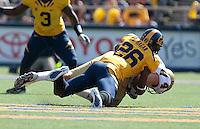 Darian Hagan sacks Kevin Prince. The California Golden Bears defeated the UCLA Bruins 35-7 at Memorial Stadium in Berkeley, California on October 9th, 2010.