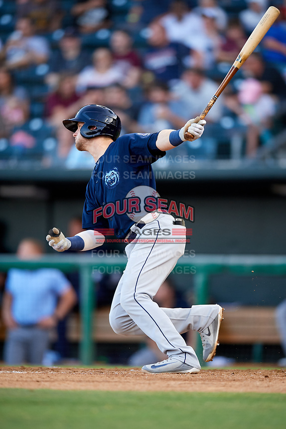 Mobile BayBears third baseman Taylor Ward (7) follows through on a swing during a game against the Jacksonville Jumbo Shrimp on April 14, 2018 at Baseball Grounds of Jacksonville in Jacksonville, Florida.  Mobile defeated Jacksonville 13-3.  (Mike Janes/Four Seam Images)
