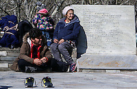 Pictured: Stranded migrants at Tempe Thursday 25 February 2016<br />Re: Hundreds of migrants, including families with young children, that were stranded at Tempe in central Greece, were forced to walk on foot on the motorway to reach Idomen, about 168 kilometres away, in the northern part of the country, at the Greek FYRO Macedonian border. Local police were at first escorting them, then made sure that they were safely transported on coaches.