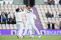 Virat Kohli, India quick to congratulate Ishant Sharma, India on the wicket of Nicholls during India vs New Zealand, ICC World Test Championship Final Cricket at The Hampshire Bowl on 22nd June 2021