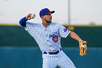Iowa Cubs infielder Elliot Soto (1) throws to first base during game two of a Pacific Coast League doubleheader against the Colorado Springs Sky Sox on August 17, 2017 at Principal Park in Des Moines, Iowa. Iowa defeated Colorado Springs 6-0. (Brad Krause/Four Seam Images)