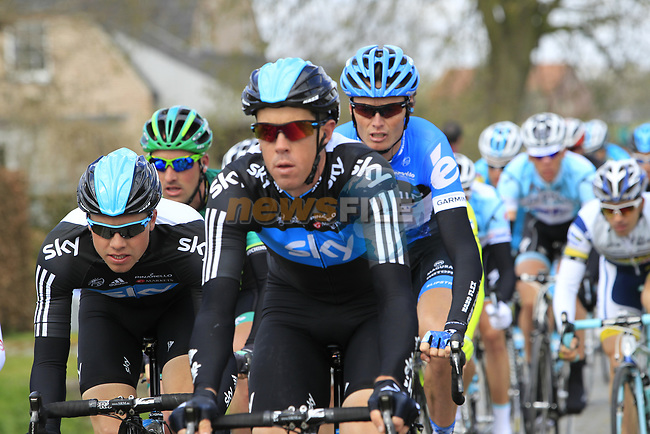 The peloton including Sky Procycling's Masthew Hayman (AUS) and Edvald Boasson Hagen (NOR) and Johan Van Summeren (BEL) Garmin-Barracuda on the 2nd cobbled section at Doorn during the 96th edition of The Tour of Flanders 2012, running 256.9km from Bruges to Oudenaarde, Belgium. 1st April 2012. <br /> (Photo by Eoin Clarke/NEWSFILE).