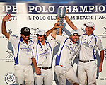 WELLINGTON, FL - APRIL 25:  Team Valiente holds the trophy high after winning the US Open Polo Championship Final, at the International Polo Club Palm Beach, on April 25, 2017 in Wellington, Florida. (Photo by Liz Lamont/Eclipse Sportswire/Getty Images)