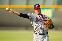Clint Wright (48) of the Danville Braves warms up in the outfield prior to the game against the Burlington Royals at Burlington Athletic Park on July 19, 2012 in Burlington, North Carolina.  The Royals defeated the Braves 4-3.  (Brian Westerholt/Four Seam Images)