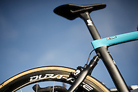 Almost every bike-brand has a cobble-specific bike and obviously The Hell of the North is the ultimate venue to show them off. Like this rear suspended Team Sky Pinarello Dogma K8s of Luke Rowe.<br /> <br /> 114th Paris-Roubaix 2016